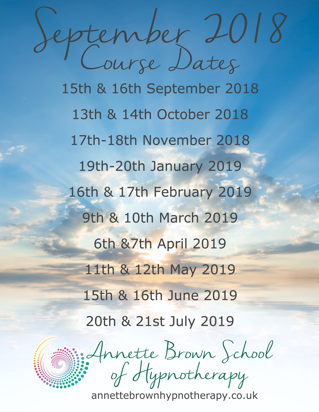 April 2018 Hypnotherapy Training dates