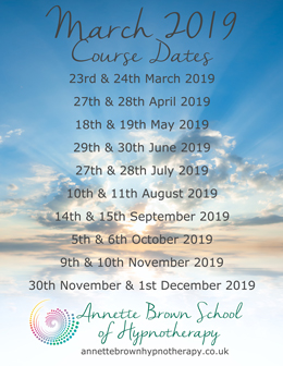 March 2019 Hypnotherapy Training dates